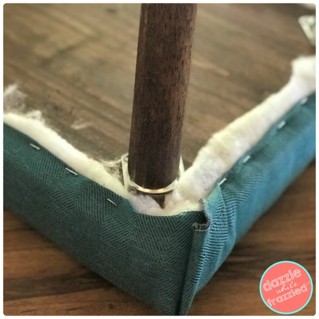 How to staple fabric into wood to make your own wooden upholstered bench.