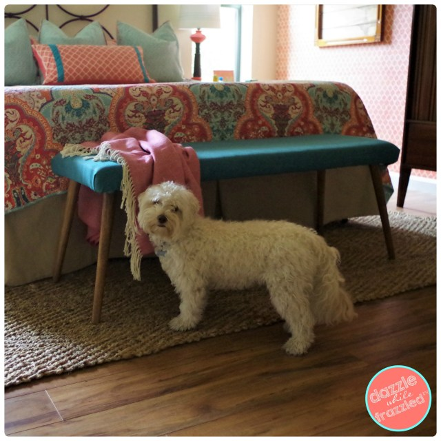 Add affordable decor to your master bedroom or entry foyer with DIY wood and fabric upholstery bench.