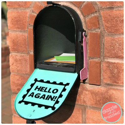 Greet the mailperson each day with a fun and cheery mailbox vinyal decal, made with a Cricut machine.