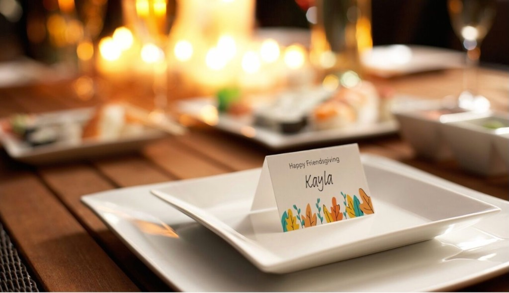 Free printable Friendsgiving place cards for DIY Thanksgiving table setting.