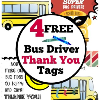 4 free and fun bus driver appreciation gift tags for Christmas and end of school year gifts.