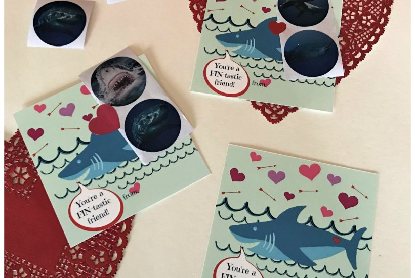 """Easy cute kids shark sticker Valentine's Day card with free printable """"You are FIN-tastic friend"""" printable card."""