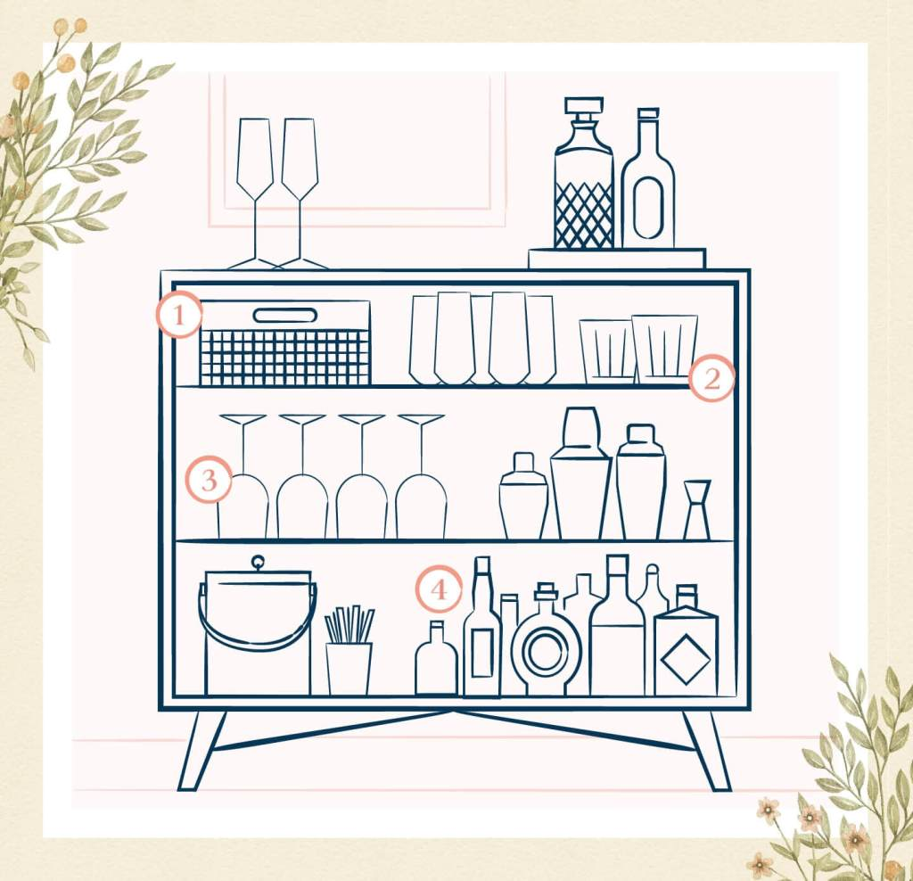 How to stock and style an at-home bar cart or bar dresser.