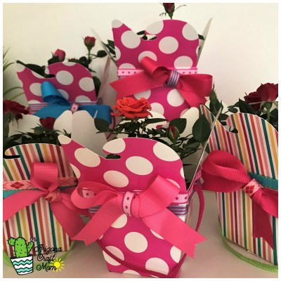 Make the prettiest potted plant gift boxes using craft takeout boxes and grosgrain ribbons.
