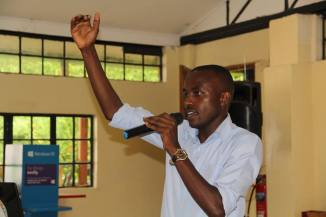 James Keru during the session