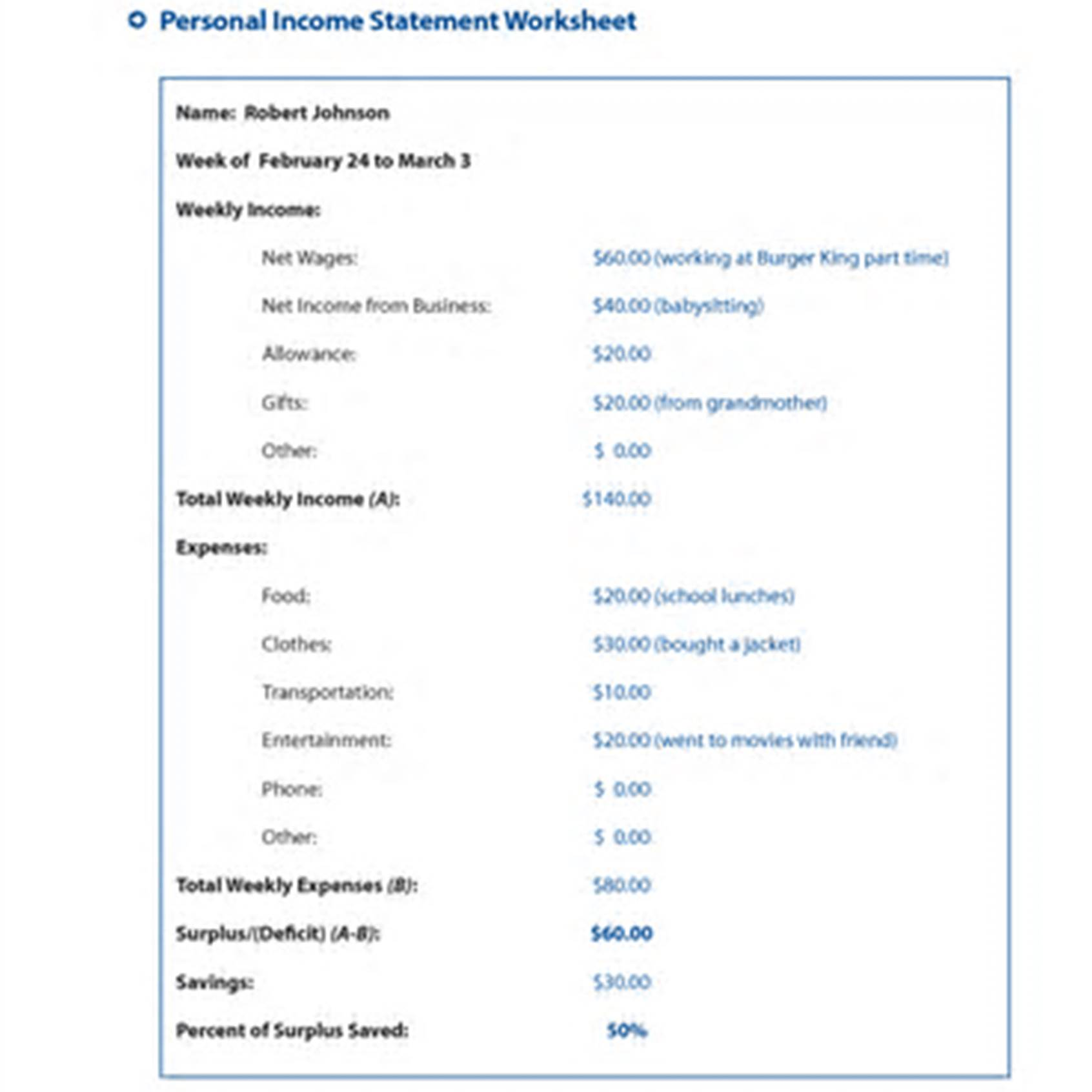 Income Statement Worksheet For Students Income Statement