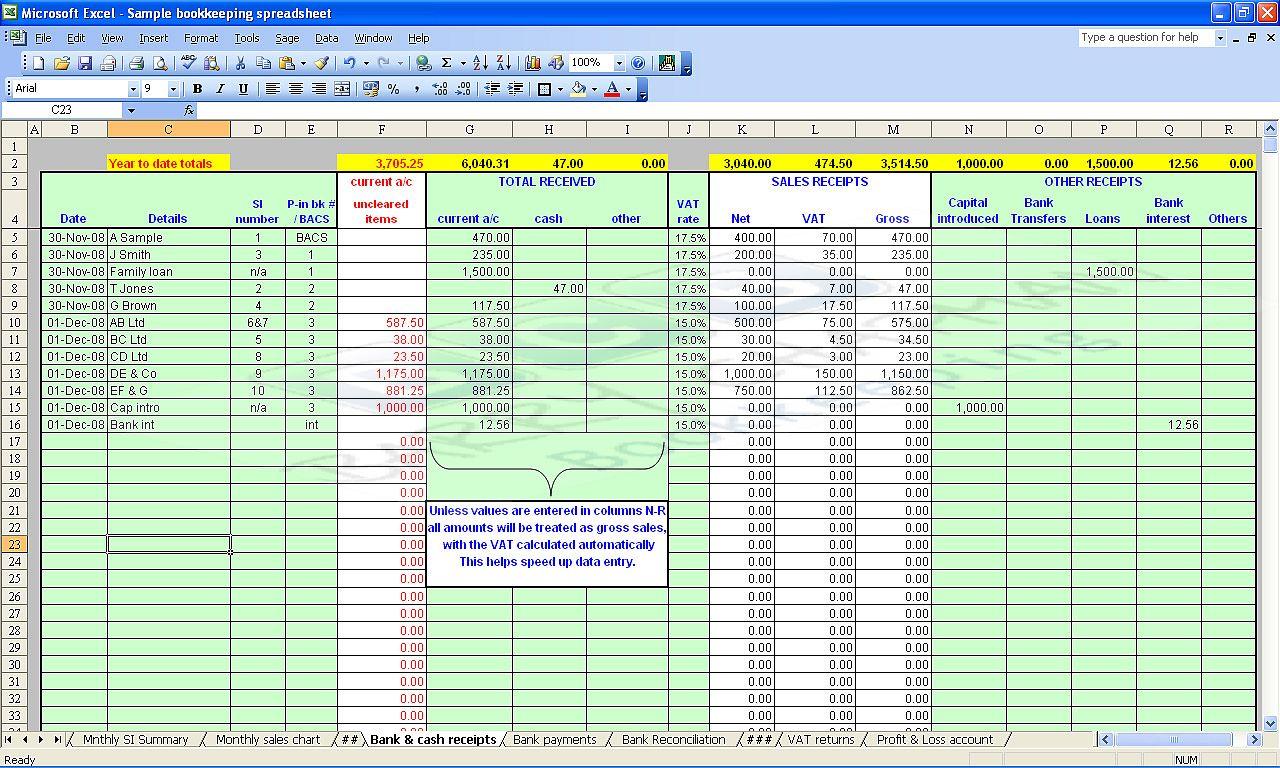 Basic Bookkeeping Spreadsheet Renovation Spreadsheet