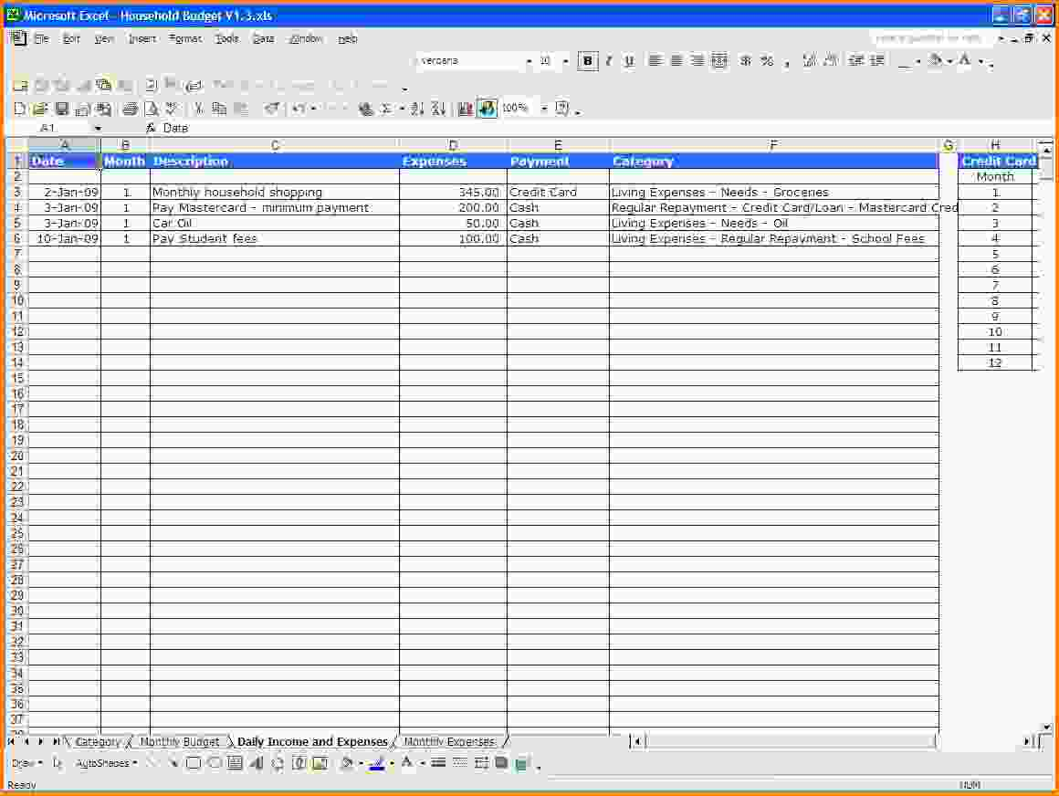 Excel Spreadsheet Template For Expenses Excel Spreadsheet