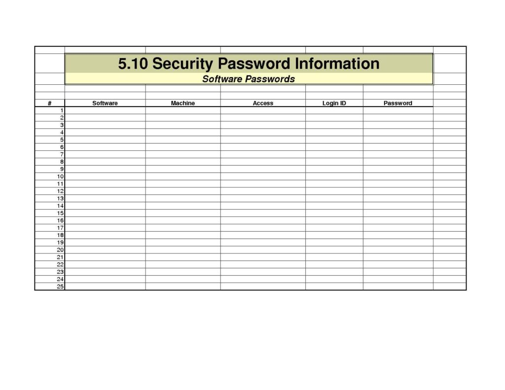 Password Spreadsheet Template Db Excel