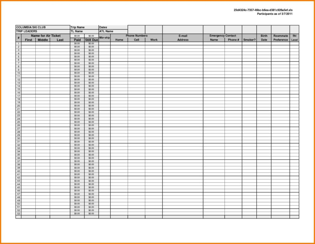 Printable Spreadsheet Template Db Excel