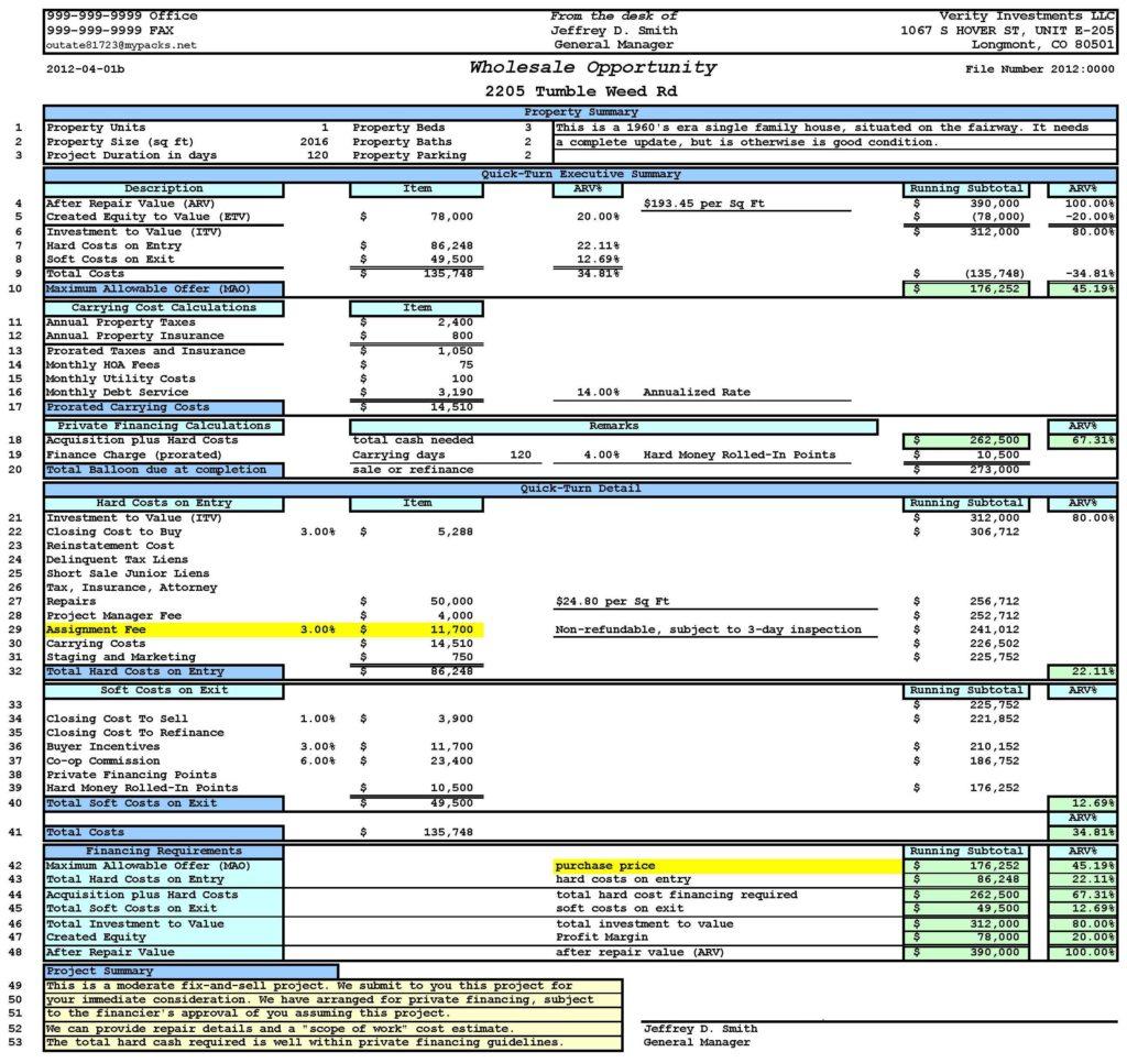 Real Estate Transaction Management Spreadsheet