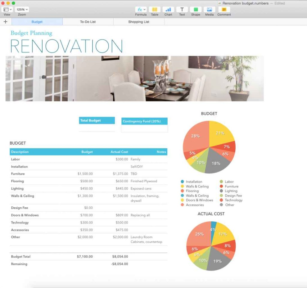 Renovation Spreadsheet Template Spreadsheet Templates For
