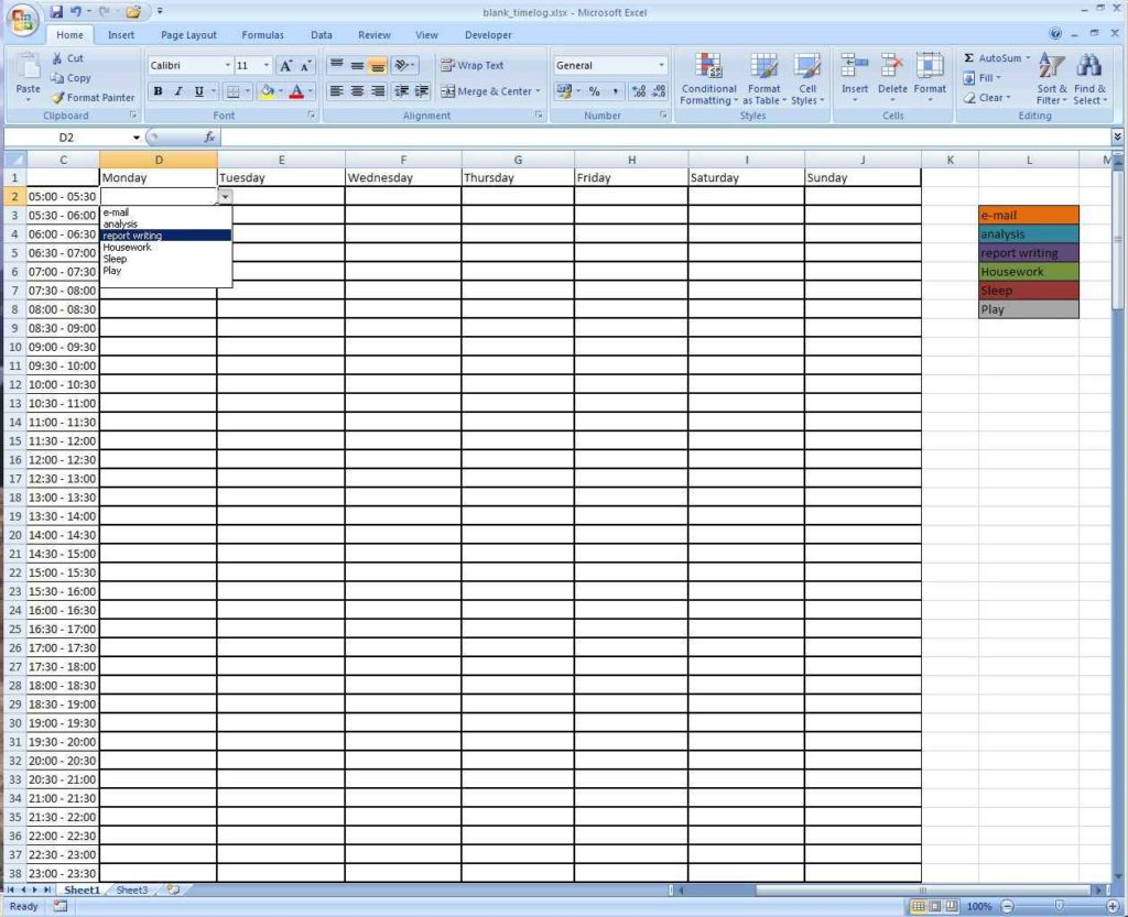 Time Management Spreadsheet Template