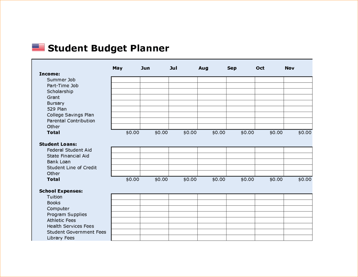 College Budget Plan Template College Budget Template
