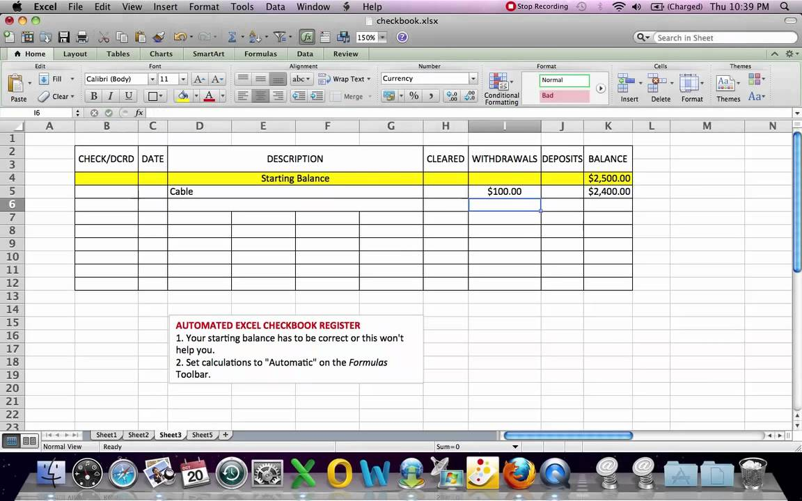 Excel Bank Account Template
