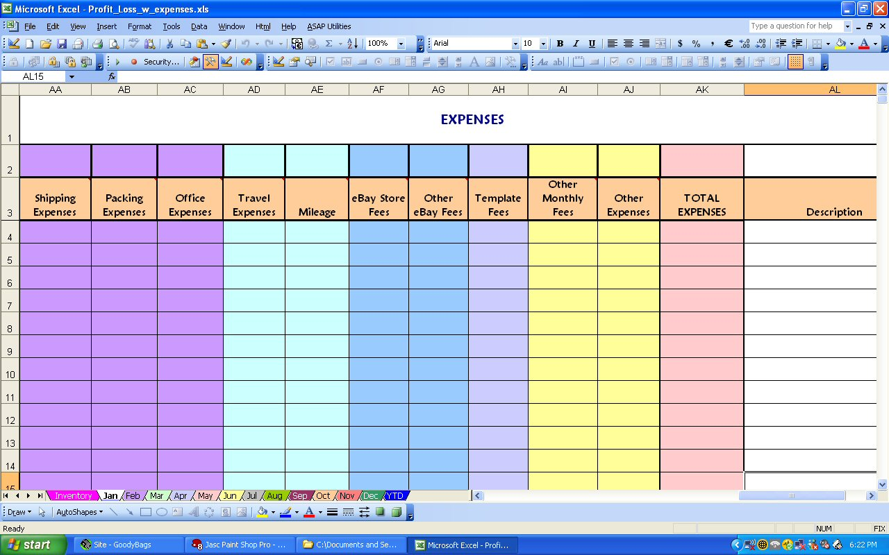 Profit And Expense Spreadsheet Spreadsheet Templates For