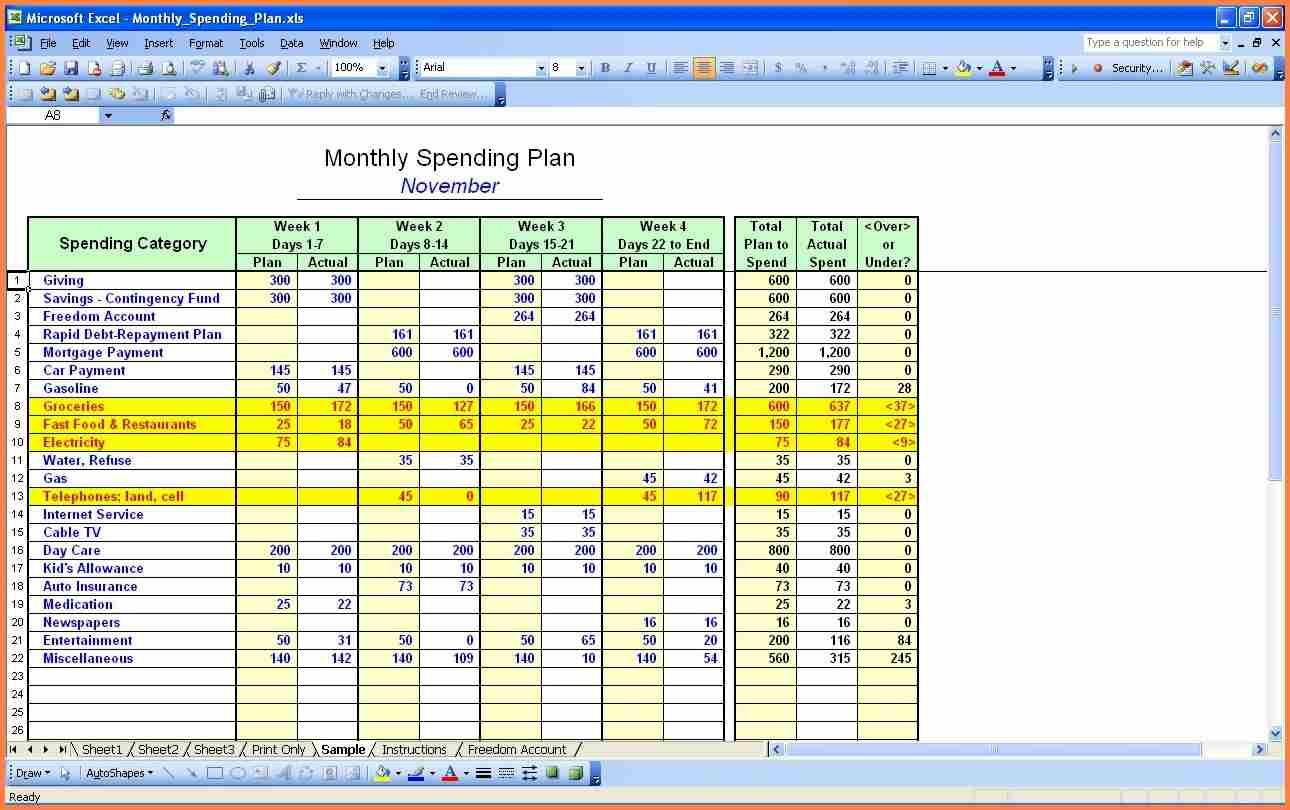 14 Personal Budget Worksheet