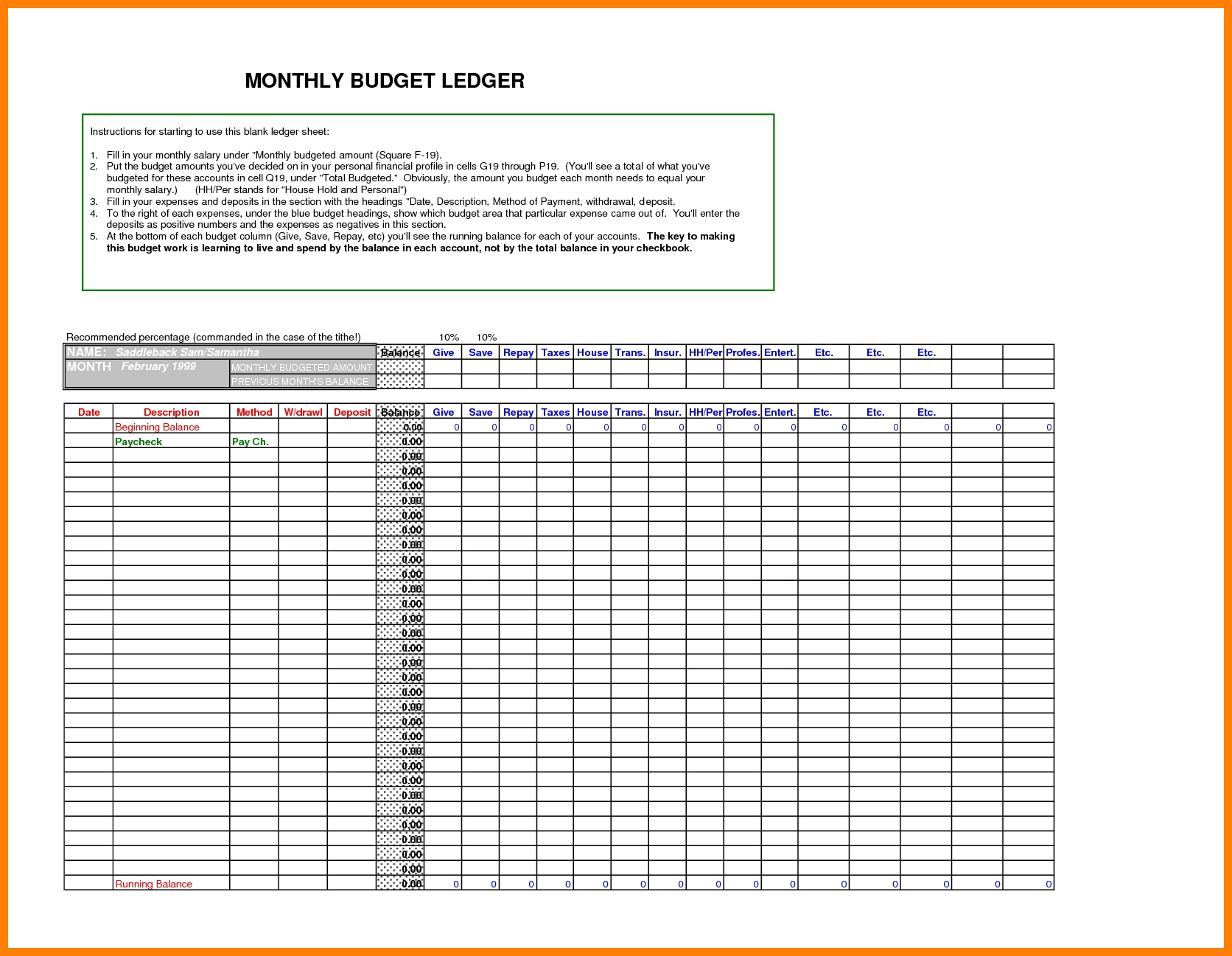 9 Free Excel Ledger Template