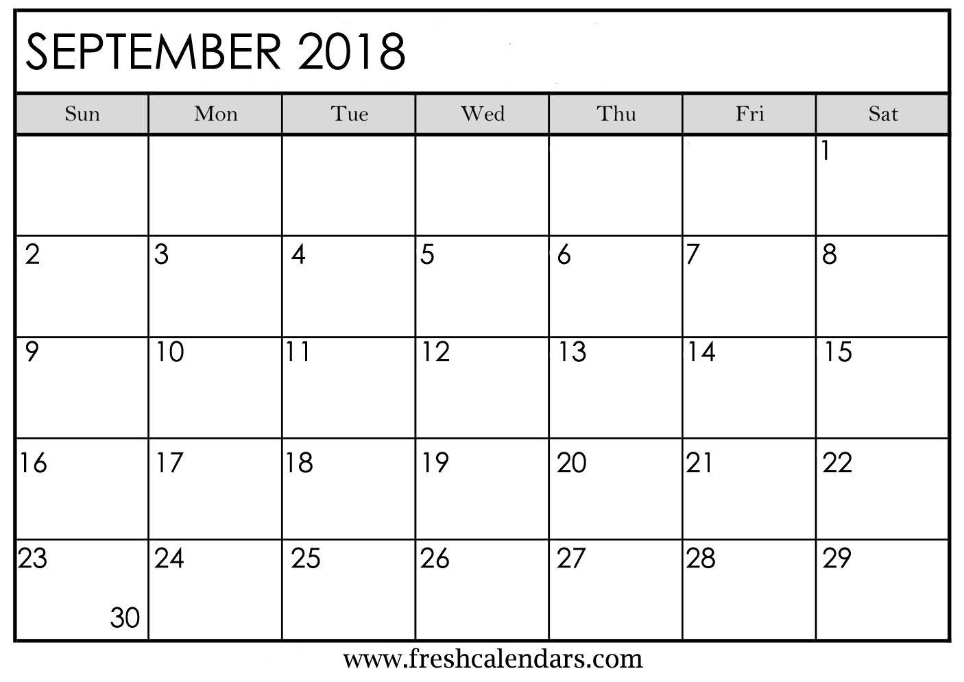 Blank September Calendar Printable Templates Intended