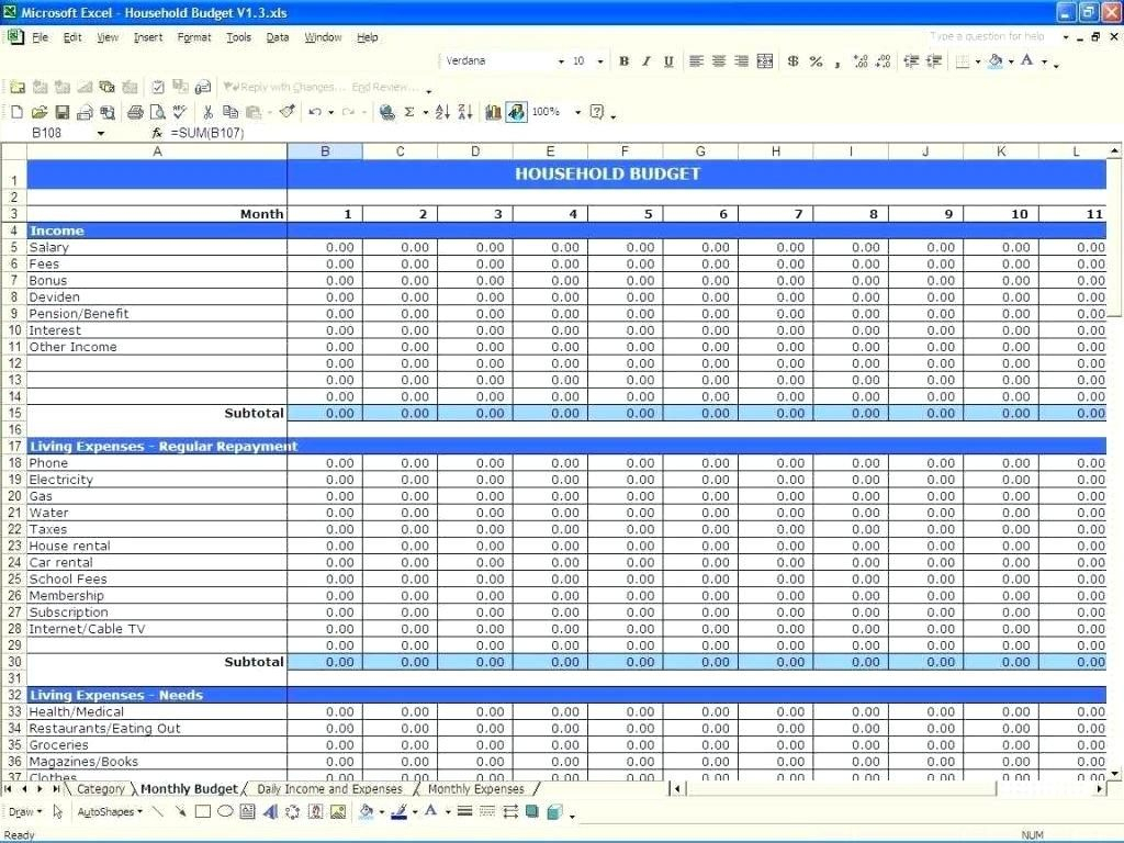 Budget Worksheet Household Expense Template Family