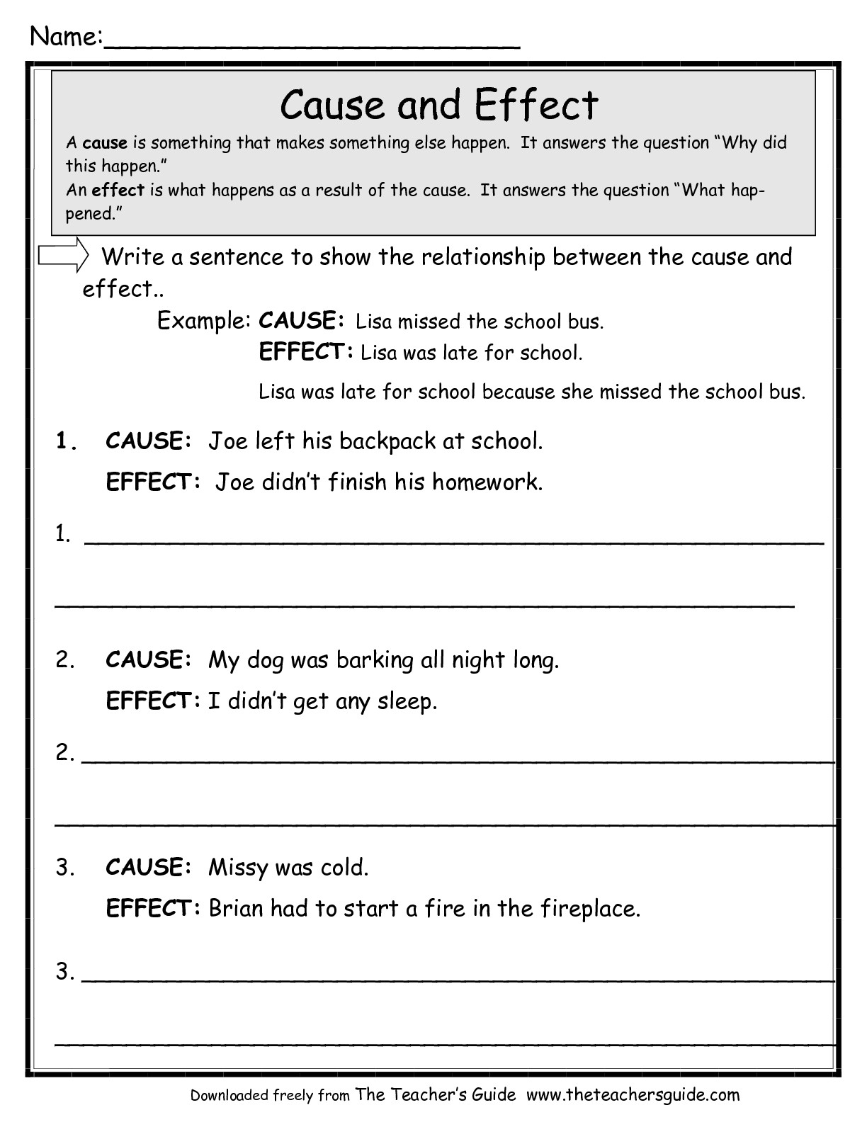 Cause And Effect Worksheets From The Teacher S Guide To