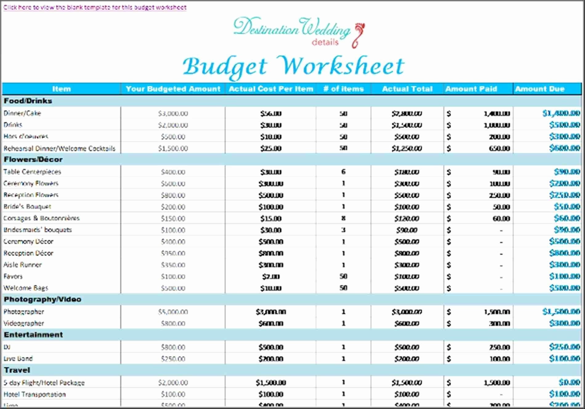 Destination Wedding Budget Spreadsheet Elegant Wedding Bud