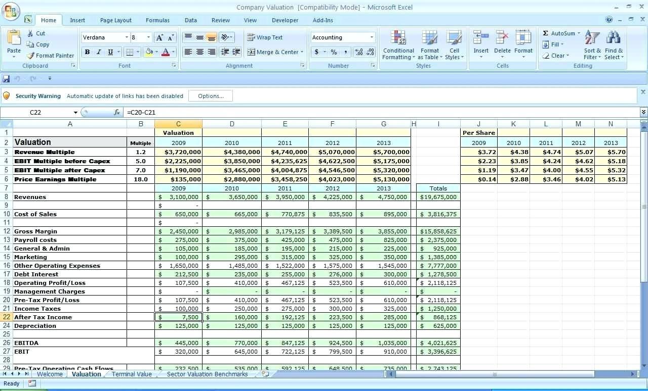 Excel Financial Worksheet Template