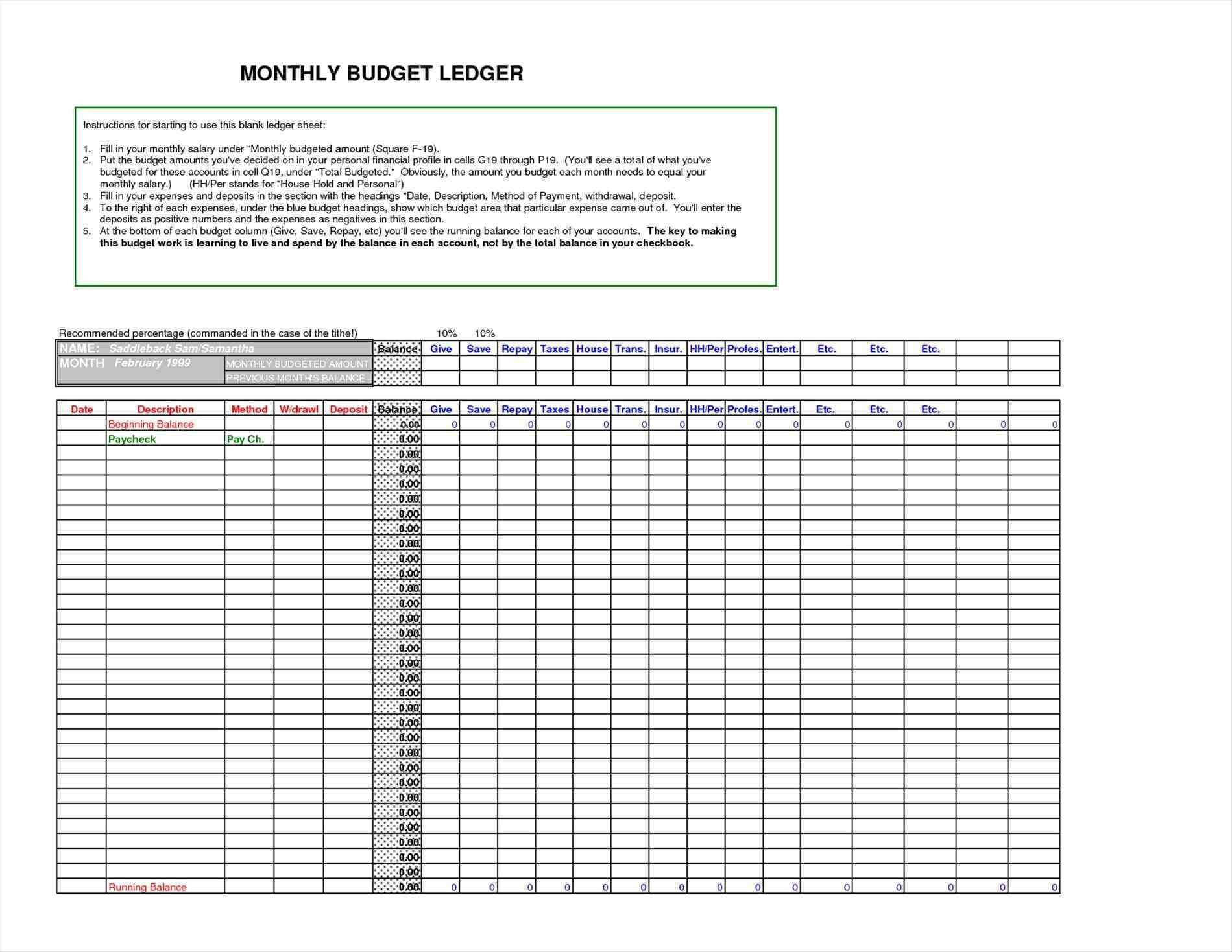 Excel Ledger Template Fresh Beruhmt Druckbare Accounting
