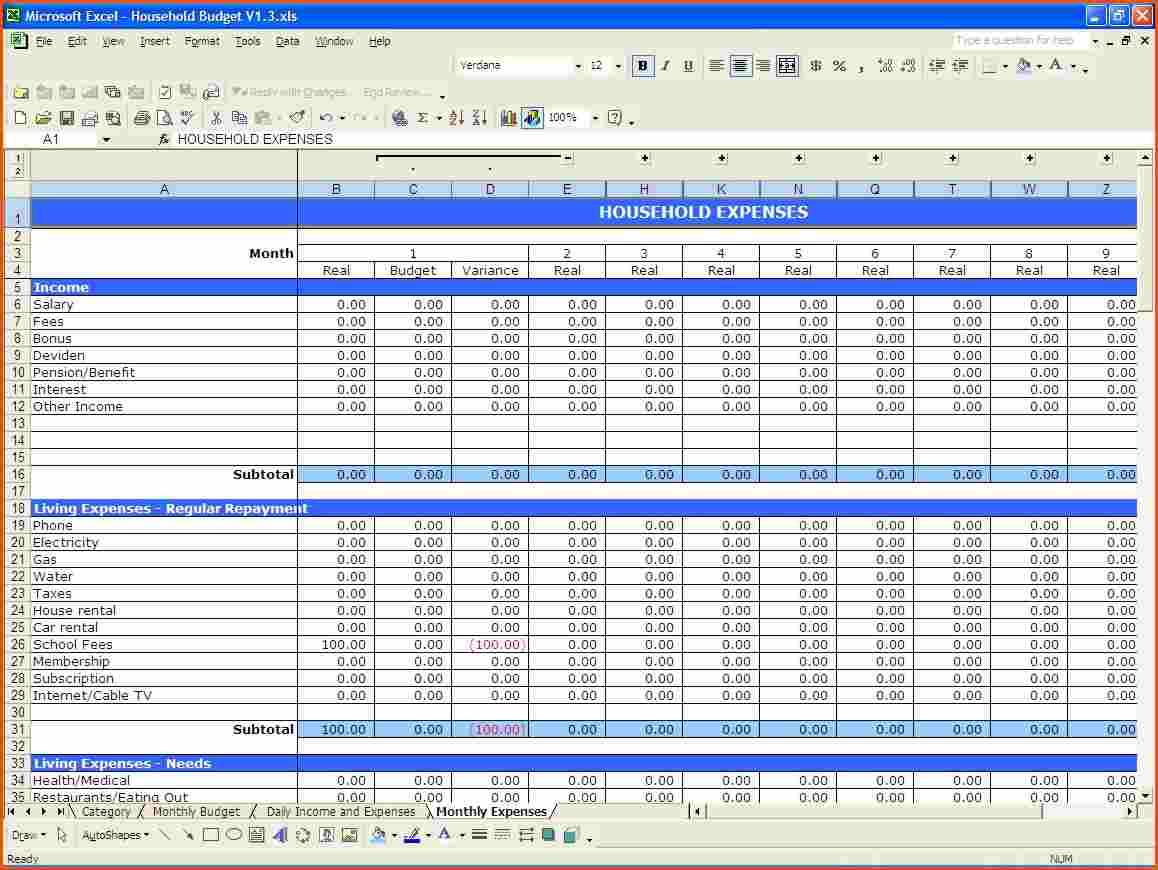 Free Budget Worksheet In Excel