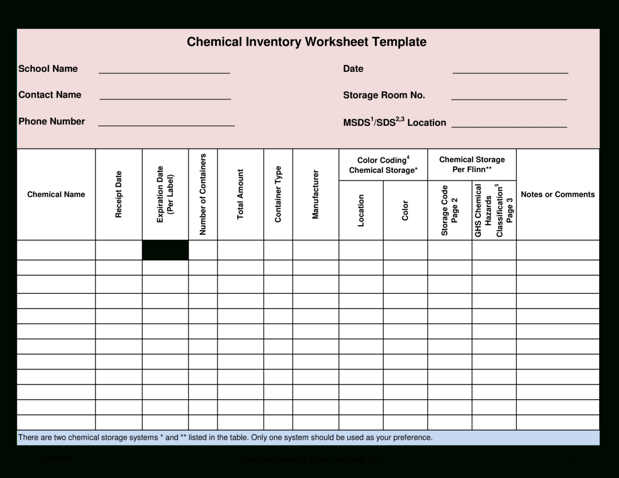 Free Chemical Inventory Worksheet Template