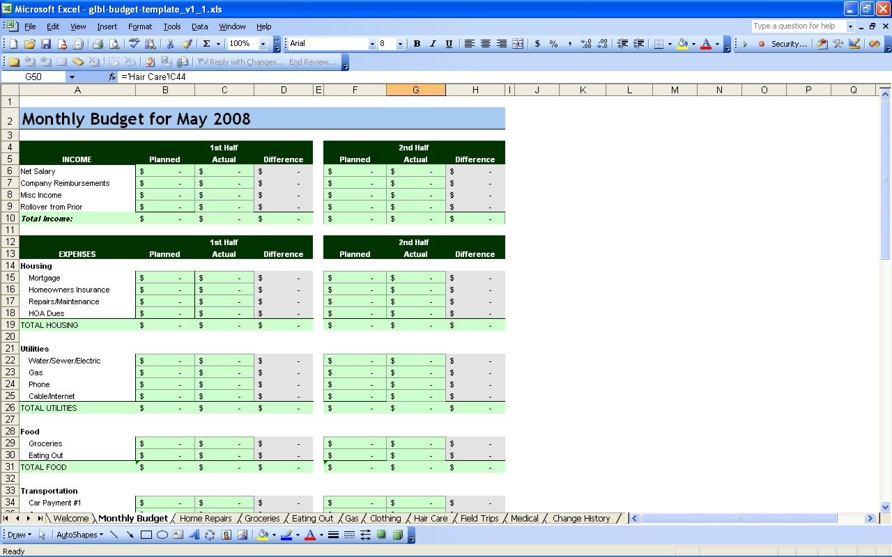 Free Personal Budget Spreadsheet Page Excel Finance