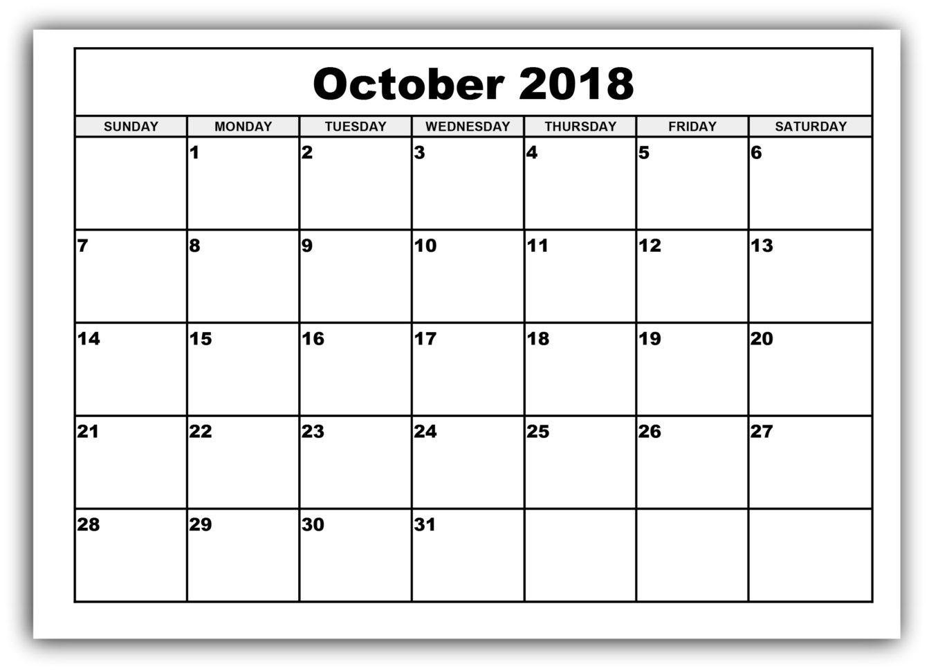 Get October Blank Printable Calendar Templates