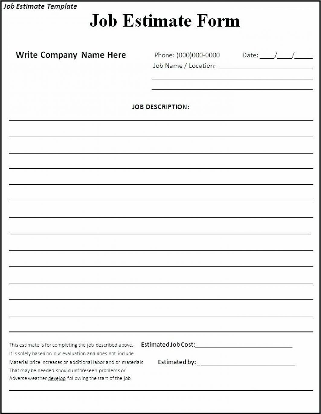 Construction Estimating Forms Template Example Of Spreadshee Construction Estimate Form Template