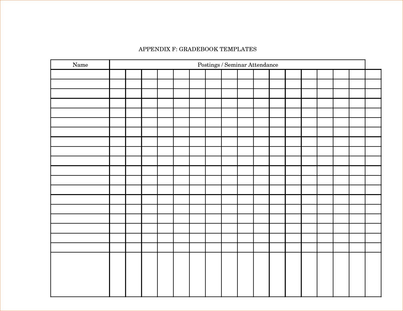 Printable Grade Book Template For Teachers