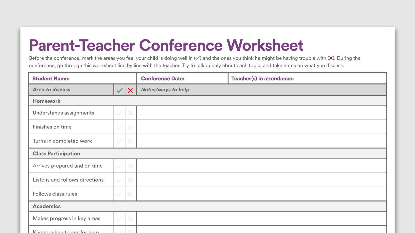 Printable Parent Teacher Conference Worksheet In Teacher