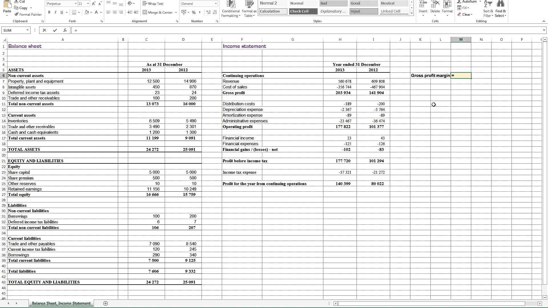 Profit Loss And Balance Sheet Projected Profit And Loss
