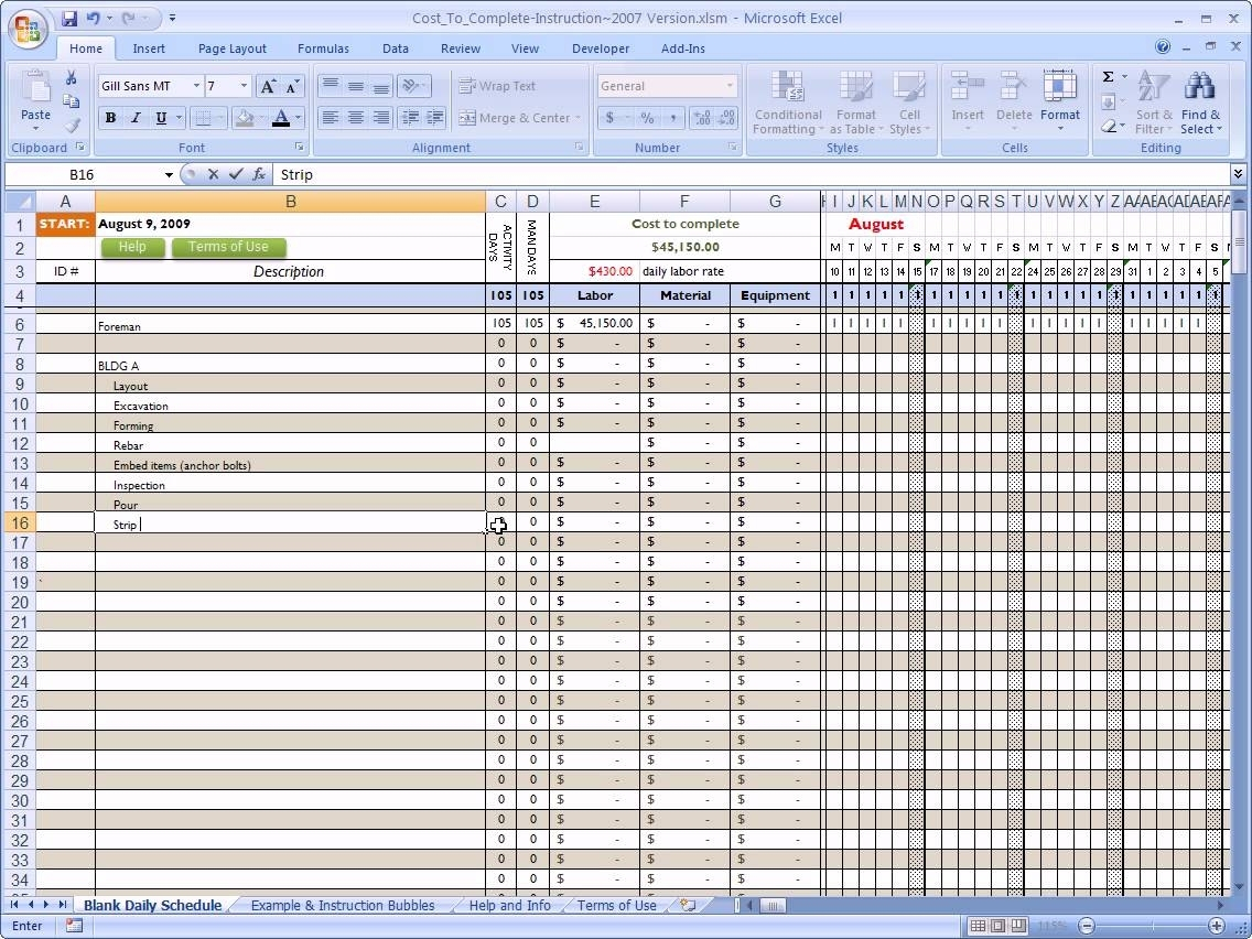 Residential Construction Budget Template Excel Yaruki Up