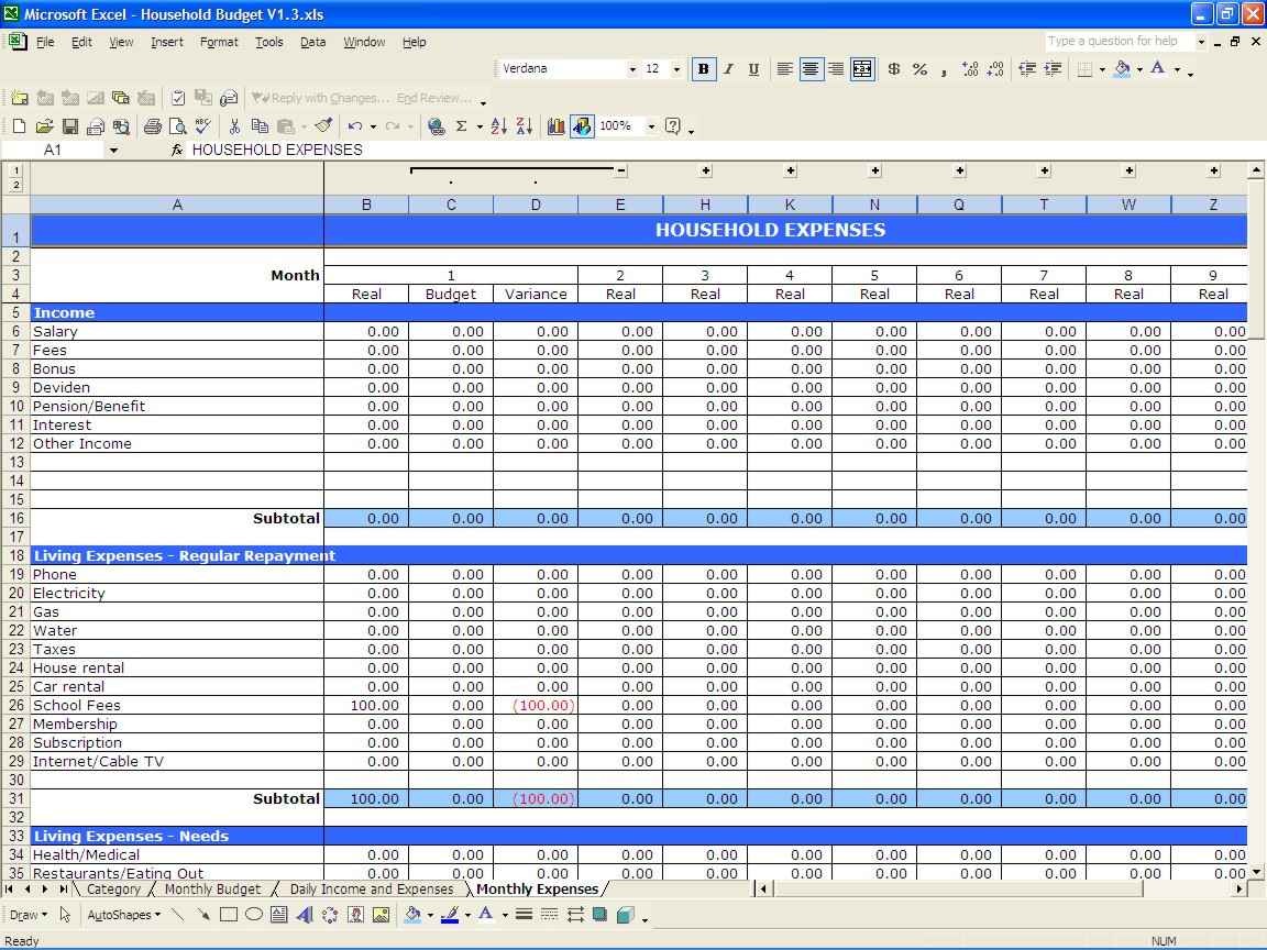 Personal Budget Worksheet Excel Example Of Spreadshee