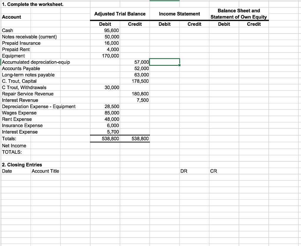 Excel If Statement Adjusted Trial Balance