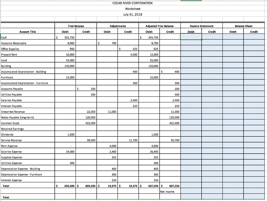 Income Calculation Worksheet Excel