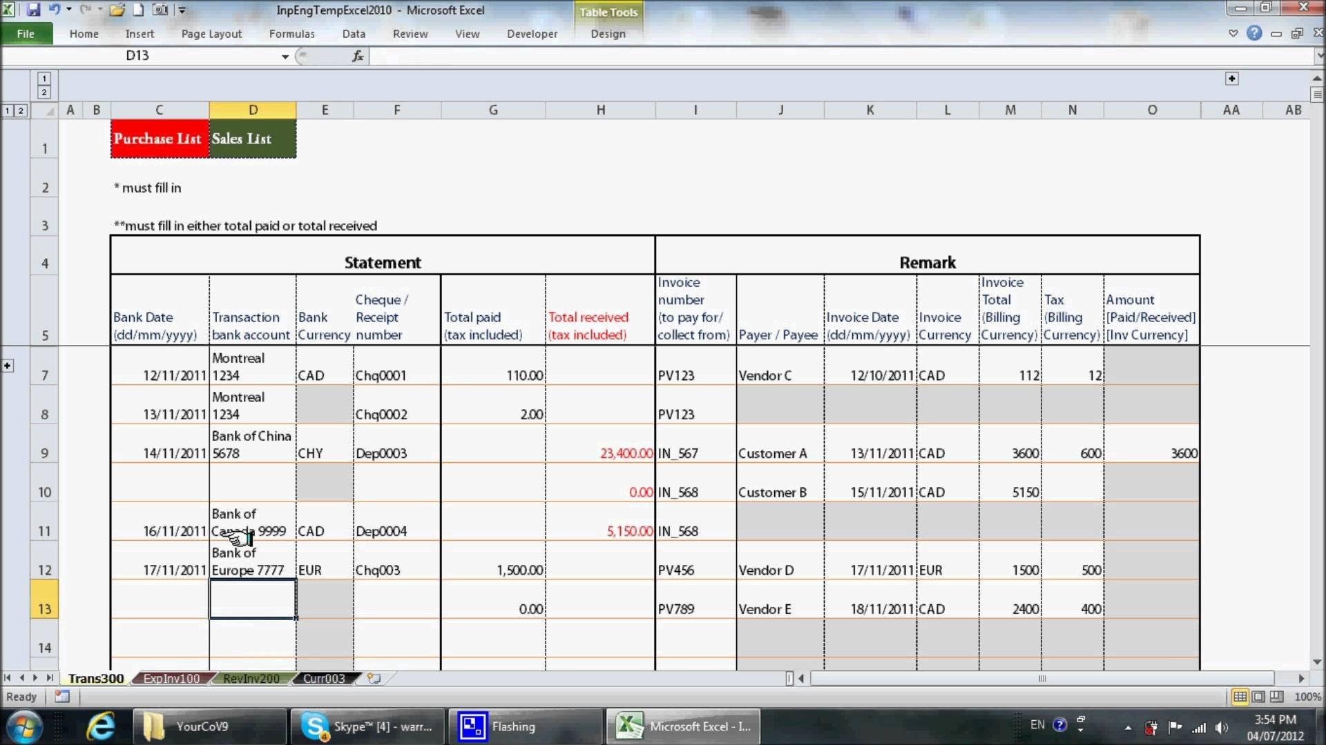 Bookkeeping In Excel Tutorial Bookkeeping Spreadshee