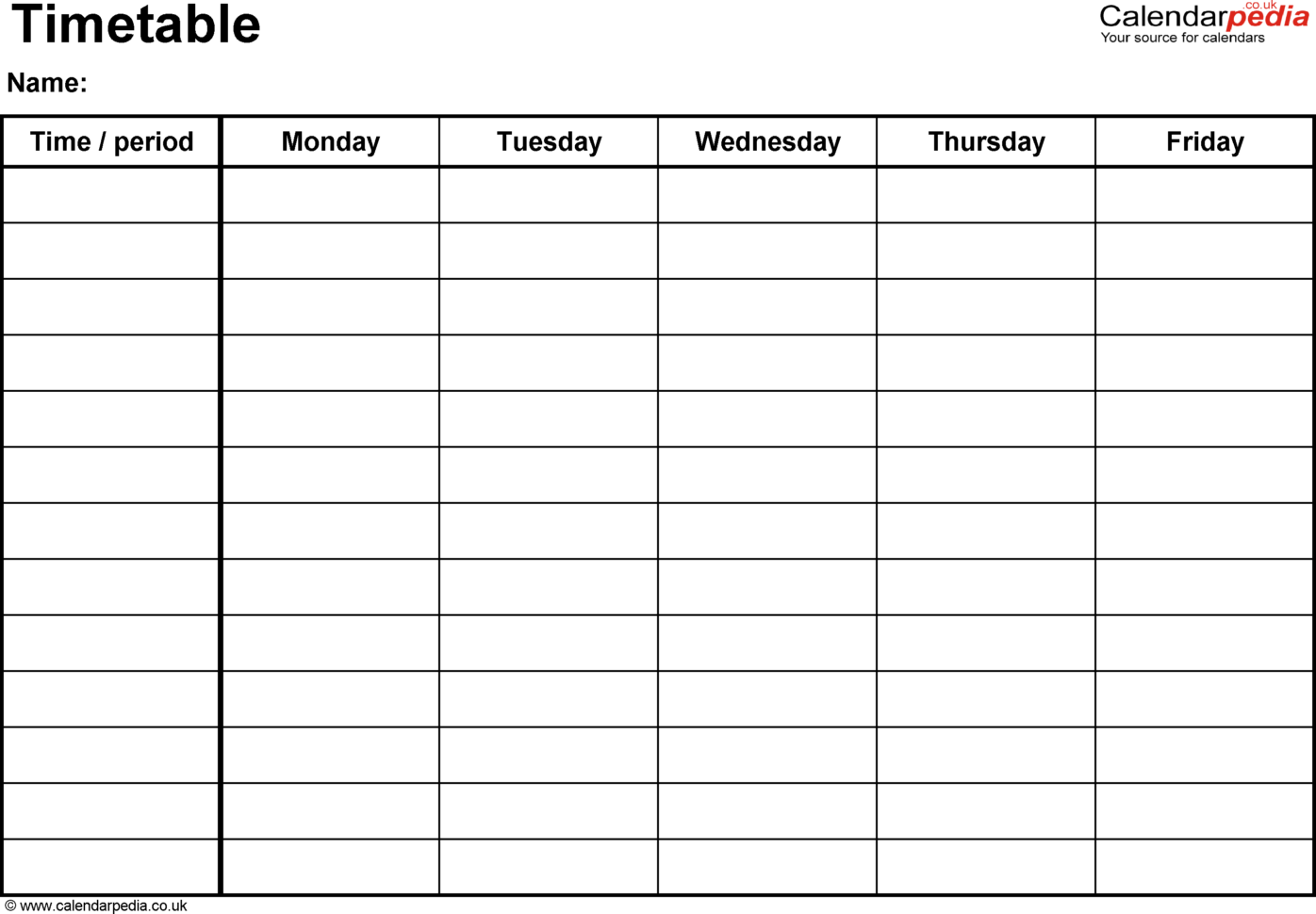 Timetables As Free Printable Templates For Microsoft Word
