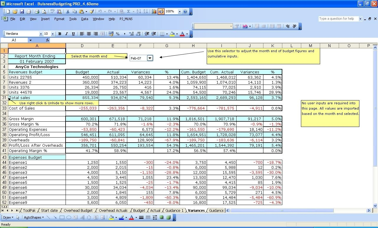 Management Accounting Templates Excel Spreadsheet