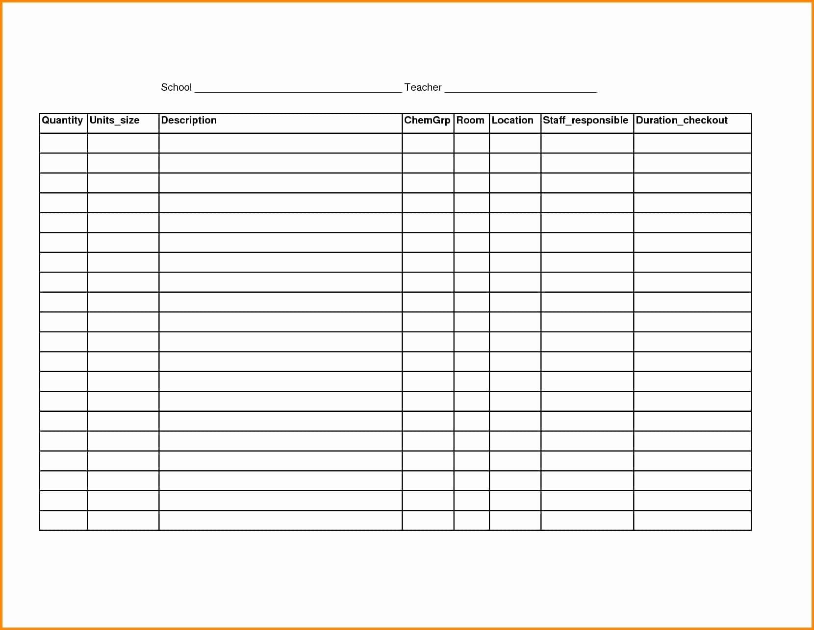 Blank Inventory Spreadsheet Unique Blank Inventory Sheets