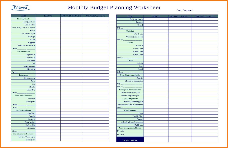 Budget Planning Spreadsheet Plannerorksheet Picture