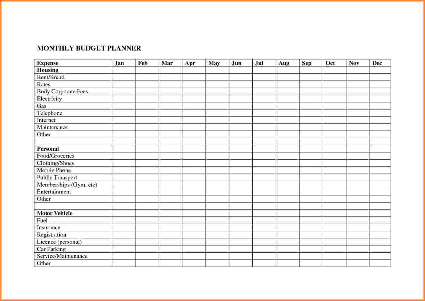 Business Budget Planning Worksheet Monthly Planner