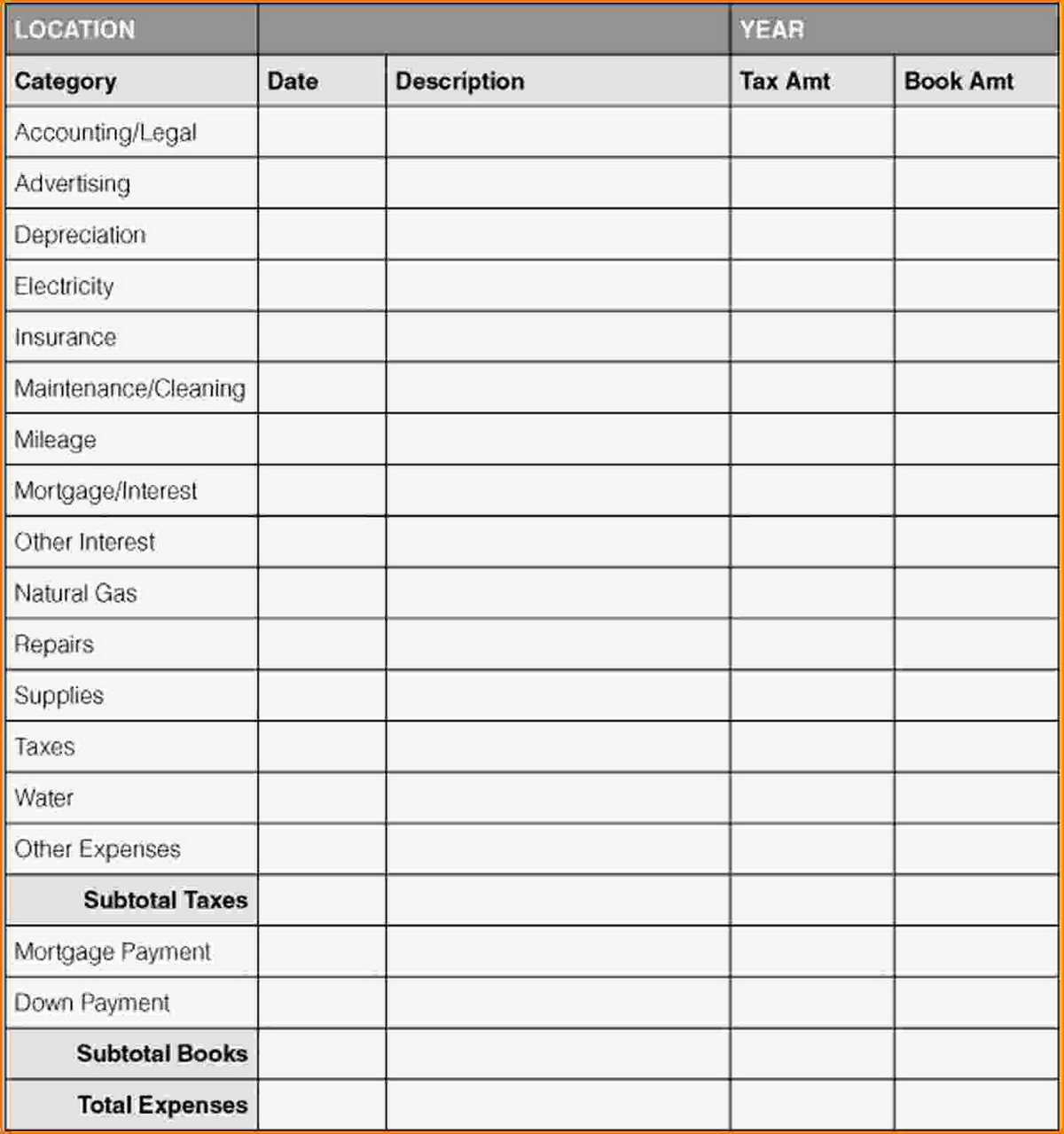 Business Expense Tracking Spreadsheet With Small Business