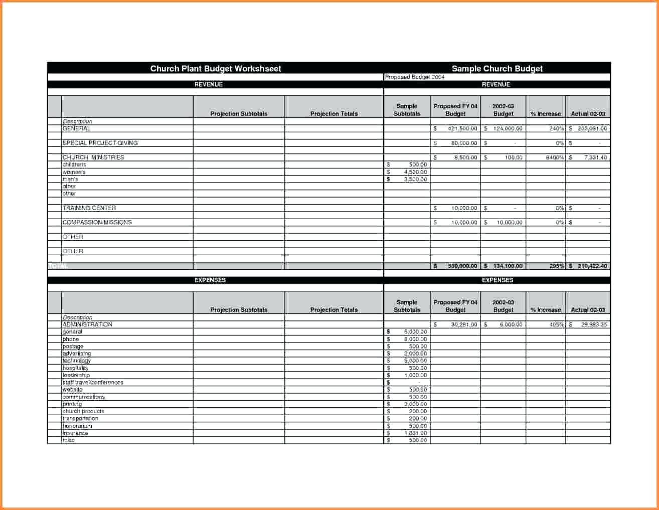 Church Budget Template Download Zoro 9terrains
