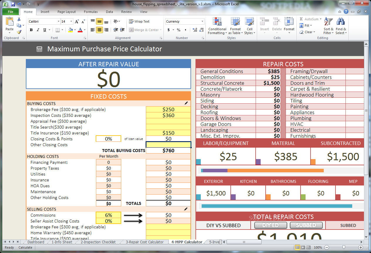 Download House Flipping Spreadsheet 1 With House Flipping