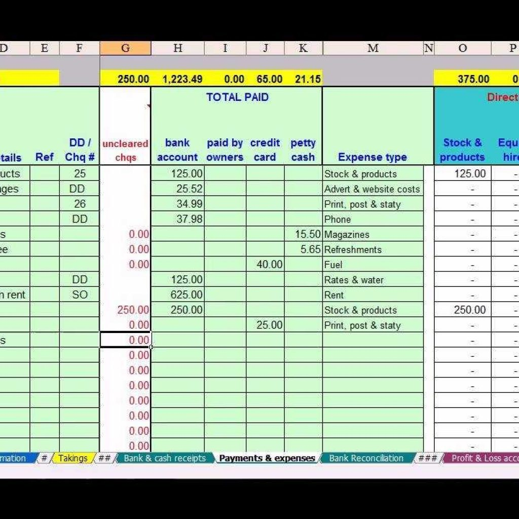 Example Of Simple Accounting Spreadsheet Template Free